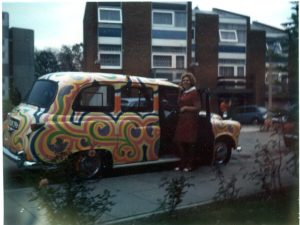 my Dad's psychedelic taxi c.1968 with Helen Ross, my late Grandmother