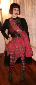 in my tartan outft which I made for the Hogmanay ball