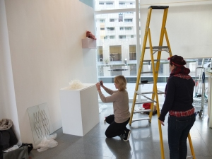 the curious curator with Charlotte Jonerheim while installing her work at the SURFACE exhibition at Chelsea Futurespace