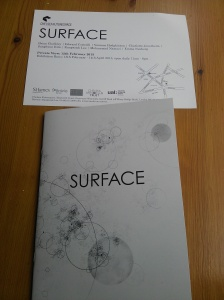 SURFACE exhibition invite card and publication cover