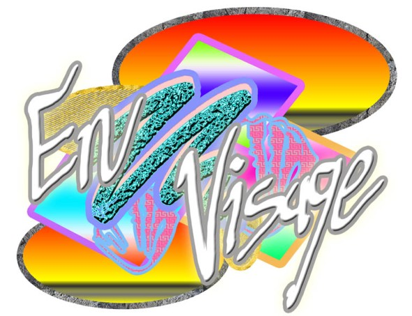 Nicky Carvell's En Visage logo designed especially for the exhibition at Notting Hill Arts Club