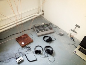 equipment set up for an IKTA live rehearssal