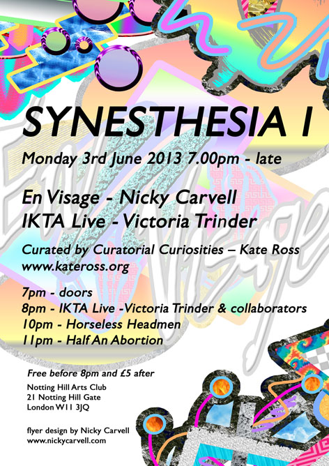 digital flyer for SYNESTHESIA I designed  by Nicky Carvell