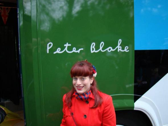 Kate Ross by the CCA Art Bus designed by Sir Peter Blake at the Diamond Jubilee celebrations at Battersea Park- 3rd June 2012