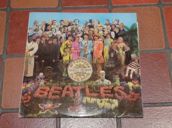 The Beatles' 'Sergeant Pepper's Lonely Hearts Club Band' record cover designed by Sir Peter Blake