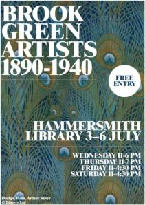 Brook Green Artists 1890-1940 exhibition at Hammersmith Library flyer