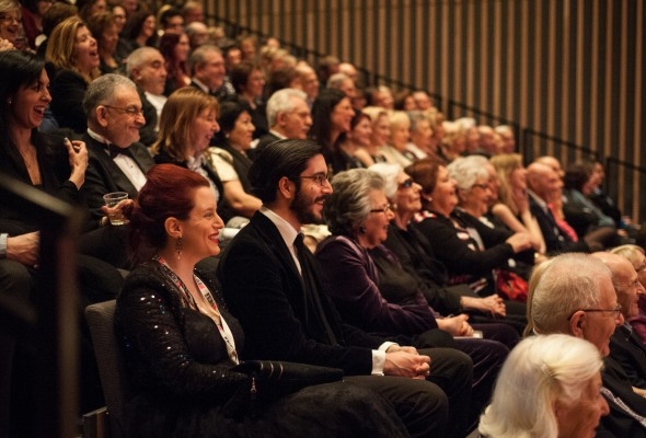 my brother and I in the audience at JW3's Oscars Warm - Up Night. Photography by Blake Ezra Photography