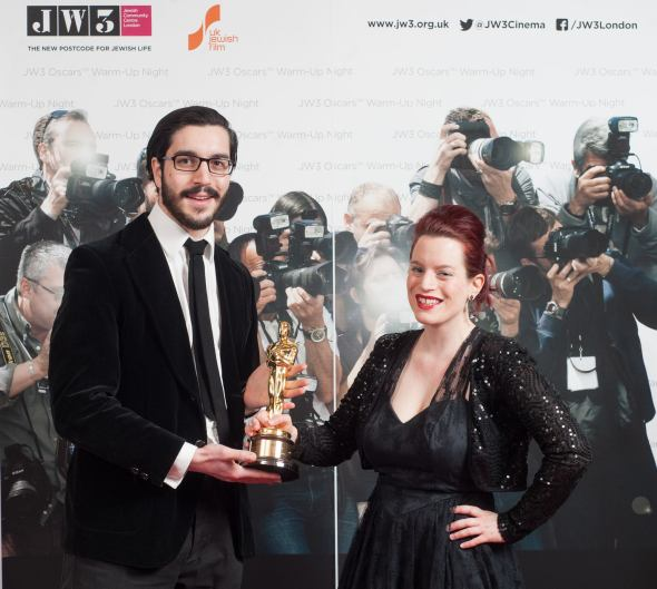 with my brother Alexander, holding a real Oscar at JW3's Oscars Warm - Up Night. Photograph by Blake Ezra Photography.