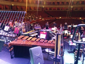 my spot where I was singing from, by the big xylophone and you can see the amazing harp as well