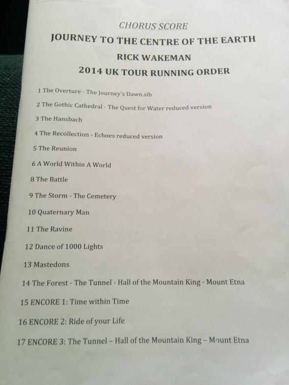 the chorus score running order